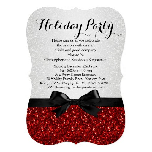 Red/White Sparkly Bow Shaped Holiday Party Custom Announcements