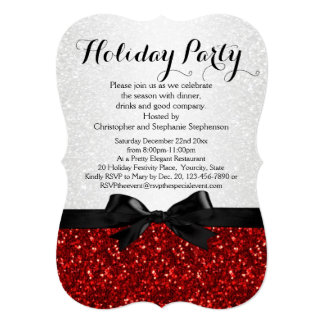"""Red/White Sparkly Bow Shaped Holiday Party 5"""" X 7"""" Invitation Card"""