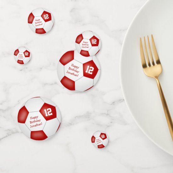 red white sports birthday party soccer ball confetti