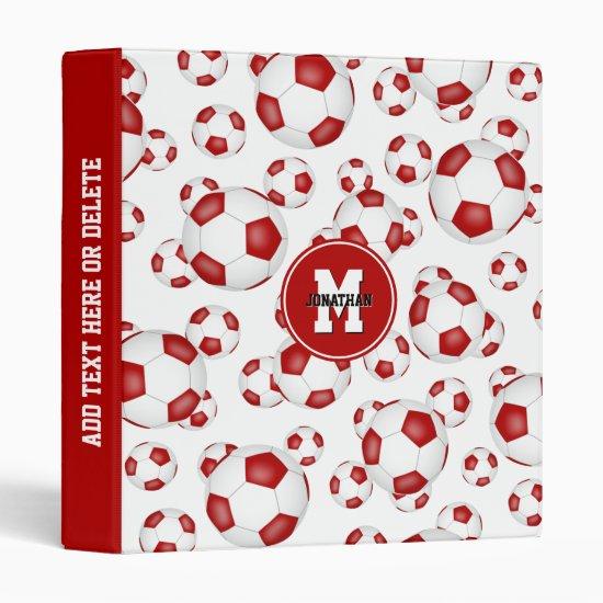 red white sports team colors boys girls soccer 3 ring binder