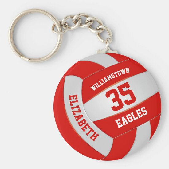 red white sports team colors volleyball keychain