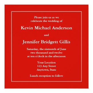 """Red & White Square Invitations or Announcements 5.25"""" Square Invitation Card"""