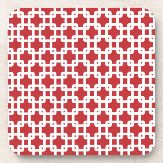 Red & White Square Pattern Coaster