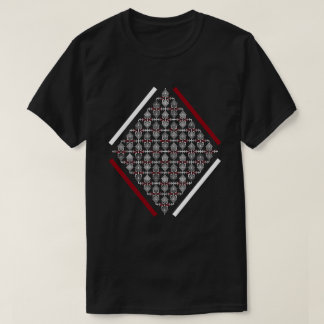 Red & White Square With Asian Inspired Patterns T-Shirt