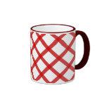 Red White Squares Retro Coffee Mug