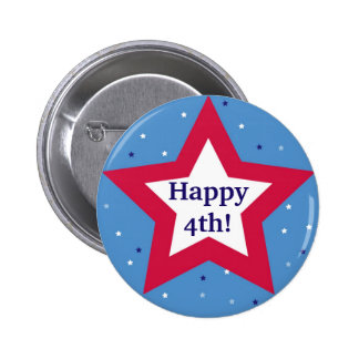 Red white star Happy 4th Independence Day custom 2 Inch Round Button