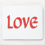 Red & White Star Love Mouse Pad