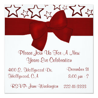 "Red & White Stars New Years Party Invitation 5.25"" Square Invitation Card"