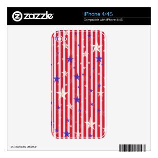 Red white stars stripes pattern iPhone 4S decals