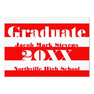 Red & White Stripe - 3x5 Graduation Announcement