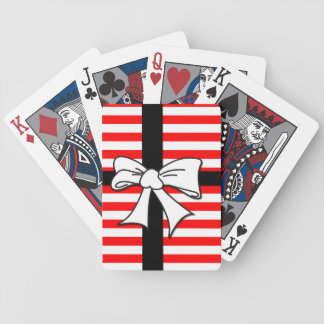 Red White Stripe Bow Bicycle Playing Cards