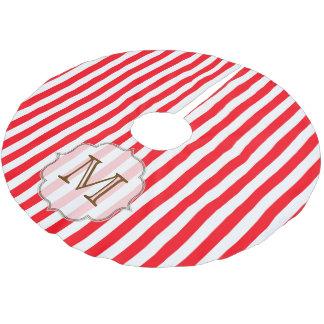 Red White Stripe Candy Monogram Initial Tree Skirt