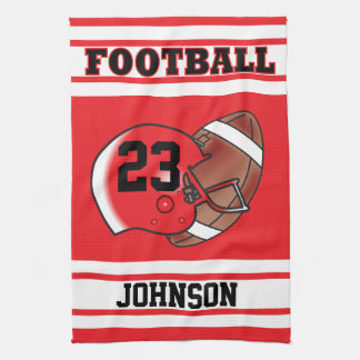 Red & White Stripe Football Jersey Hand Towel