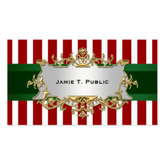 Red White Stripe, Green Ribbon, Gold Framed Label Business Cards