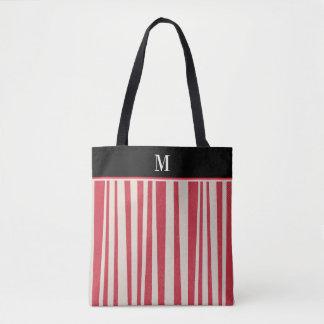 Red White Stripe Monogram Tote Bag