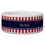 Red White Stripe Navy Blue Name Monogram Dog Bowl