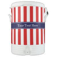 Red White Stripe Navy Blue Name Monogram Igloo Beverage Cooler