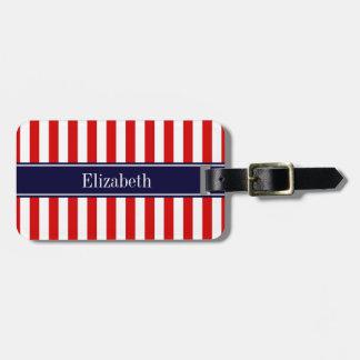 Red White Stripe Navy Blue Name Monogram Luggage Tag