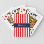 "Red White Stripe Navy Blue Name Monogram Playing Cards<br><div class=""desc"">Red and White Stripe Pattern, Navy Blue Ribbon Name Monogram Customize this with your name, monogram or other text. You can also change fonts, adjust font sizes and font colors, move the text, etc. Please note that this is a digitally created graphic design that&#39;s transferred to the underlying product. The...</div>"