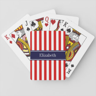 Red White Stripe Navy Blue Name Monogram Playing Cards