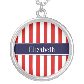 Red White Stripe Navy Blue Name Monogram Round Pendant Necklace