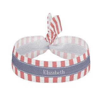 Red White Stripe Navy Blue Name Monogram Ribbon Hair Tie