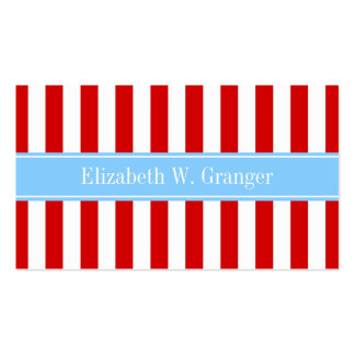 Red White Stripe Sky Blue Name Monogram Business Card Template