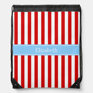 Red White Stripe Sky Blue Name Monogram Drawstring Bag
