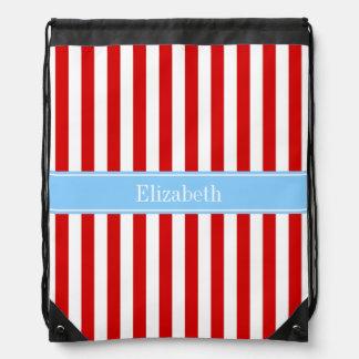 Red White Stripe Sky Blue Name Monogram Drawstring Backpacks
