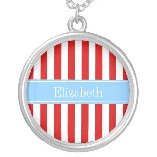Red White Stripe Sky Blue Name Monogram Round Pendant Necklace