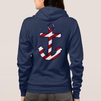 Red & White Striped Anchor Zip Hoodie Sweatshirt