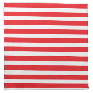 Red & White Striped Cloth Cocktail Napkins