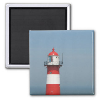 Red/White striped lighthouse in Holland 2 Inch Square Magnet