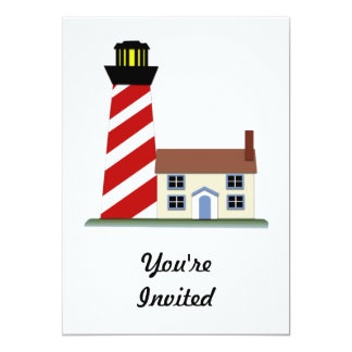Red & White Striped Lighthouse Tower Card