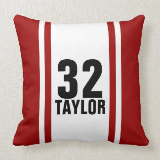 Red & White Striped Sports Jersey Throw Pillow