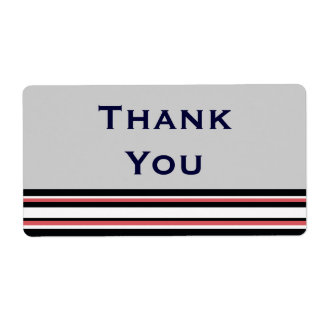 red white striped Thank You Label