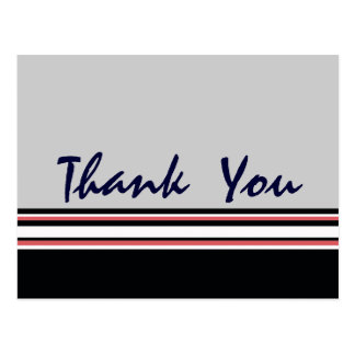 red white striped Thank You Post Cards