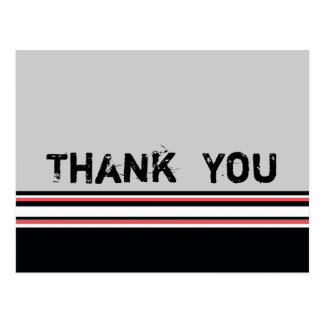 red white striped Thank You Postcards