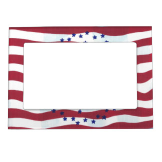 Red White Stripes Blue Stars Magnetic Photo Frames