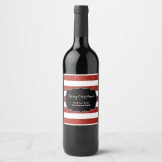 Red White Stripes Christmas Custom Wine Label