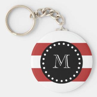 Red White Stripes Pattern, Black Monogram Basic Round Button Keychain