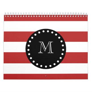 Red White Stripes Pattern, Black Monogram Wall Calendars