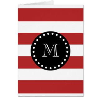 Red White Stripes Pattern, Black Monogram Card