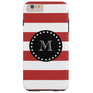 Red White Stripes Pattern, Black Monogram Tough iPhone 6 Plus Case