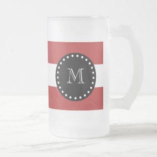 Red White Stripes Pattern, Black Monogram Frosted Glass Beer Mug
