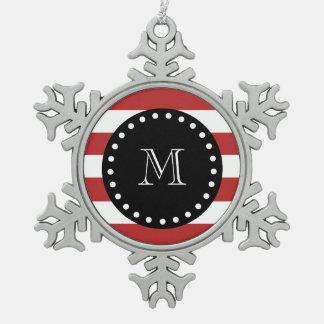 Red White Stripes Pattern, Black Monogram Snowflake Pewter Christmas Ornament