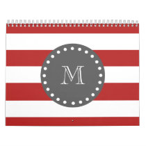Red White Stripes Pattern, Charcoal Monogram Calendar