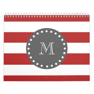 Red White Stripes Pattern, Charcoal Monogram Calendar