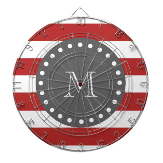 Red White Stripes Pattern Charcoal Monogram Dartboard With Darts