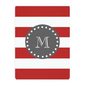 "Red White Stripes Pattern, Charcoal Monogram 4.5"" X 6.25"" Invitation Card"